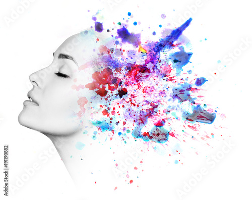 Double exposure of woman and watercolor paint
