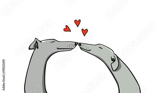 Fotografiet Hand drawn greyhounds