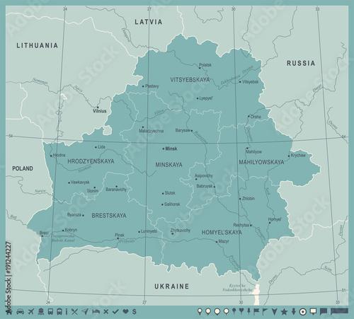 Wallpaper Mural Belarus Map - Vintage Detailed Vector Illustration