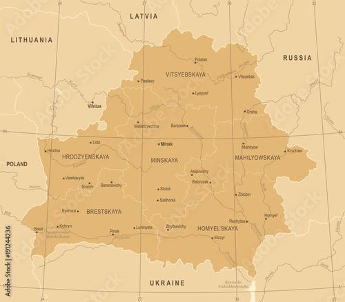 Photo Belarus Map - Vintage Detailed Vector Illustration