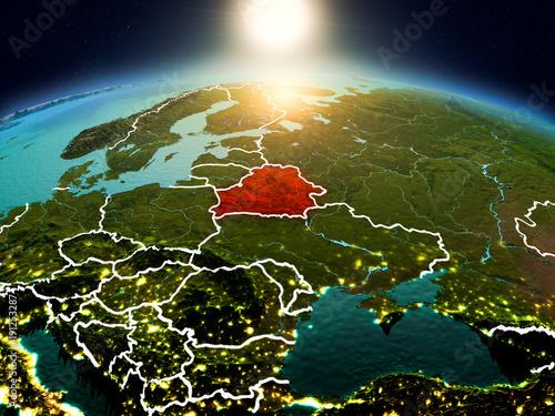 Photo Belarus in sunrise from orbit