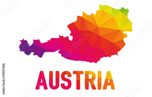 Stampa su Tela Colorful polygonal map of Australie, geometry cartographic illustration, isolate