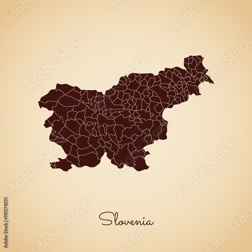 Photo Slovenia region map: retro style brown outline on old paper background