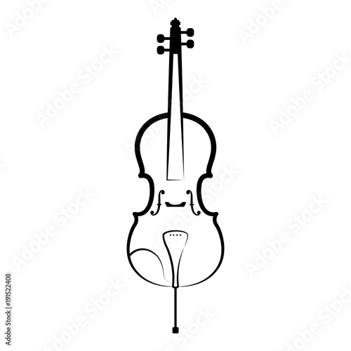 Fotomural Isolated cello outline. Musical instrument