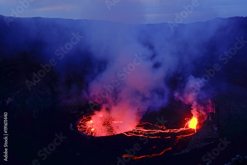 Valokuva Lava and steam in crater of Nyiragongo volcano in Virunga National Park in Democ