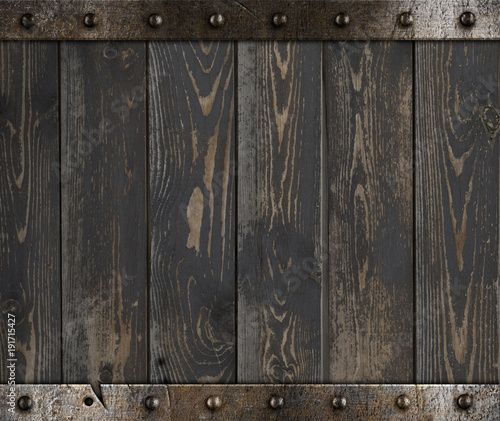Photo Wood barrel medieval background