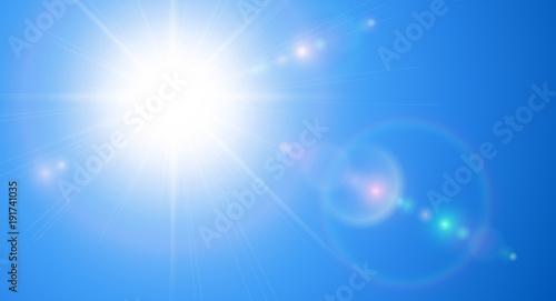 Fotografie, Obraz Sunny background, blue sky with sun