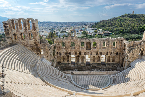 Herodes Atticus ancient theater in Acropolis of Athens, Greece