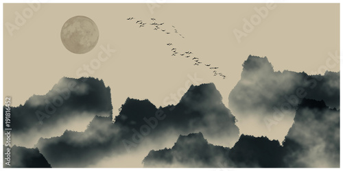 Chiński atrament i malarstwo wodne krajobraz