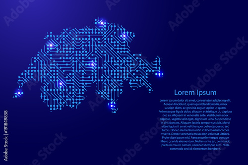Canvas Print Map Switzerland from printed board, chip and radio component with blue star space on the contour for banner, poster, greeting card, of vector illustration
