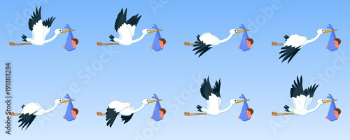 Photo Storks with baby, animation sprite sheet,  flying animation, new born baby, baby