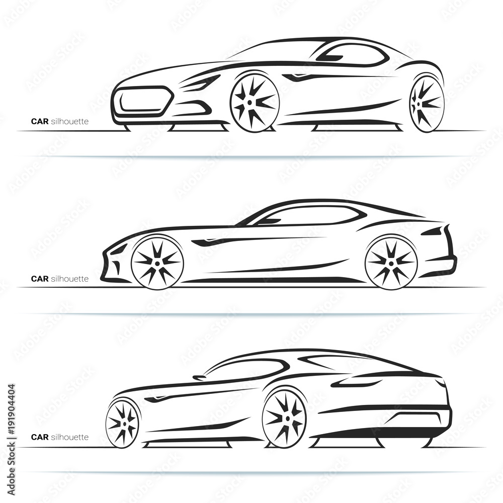 Set of sports car silhouettes, outlines, contours. Side and perspective front and rear view. Abstract hand-drawn modern sports coupe isolated on white background <span>plik: #191904404   autor: vectorcreator</span>