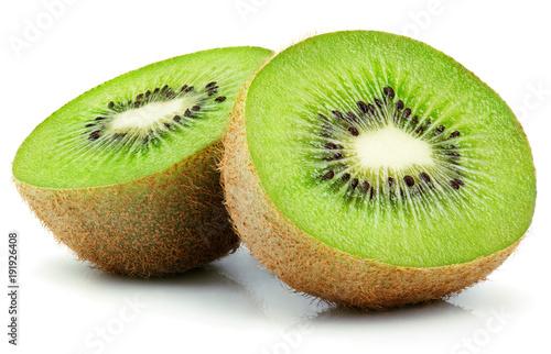 Two halves of ripe kiwi fruit isolated on white background
