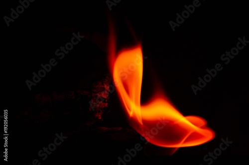 Wallpaper Mural Colorful fire flame, black background