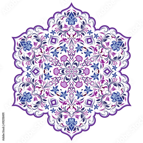 Vector decorative element in Oriental style. Richly decorated with arabesques ornament for the design of greeting cards, invitations and web pages. The Arabic pattern in purple and blue colors.