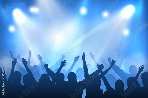Leinwand Poster Vector concert stage illuminated with blue lights and silhouettes of cheering cr