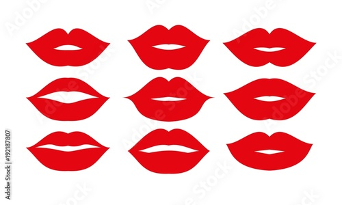 Photo Beautiful red lips icons collection vector