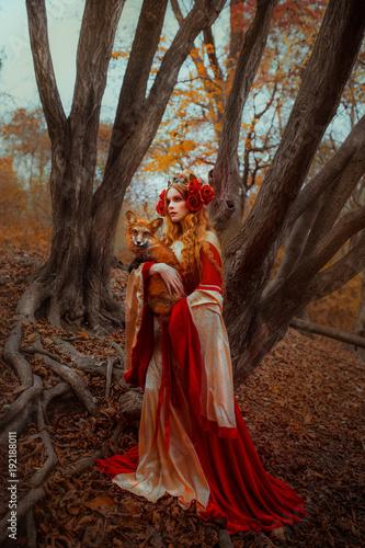 Fotografia, Obraz Woman in medieval clothes with a fox