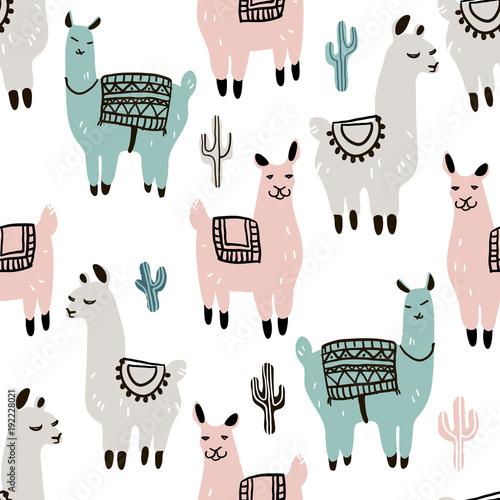 Plakat Modny wzór z alpagą - lama i kaktus