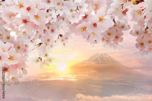 桜と富士山と夕日