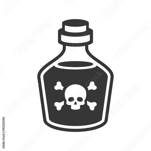 Valokuvatapetti Glass Poison Bottle Icon on White Background. Vector