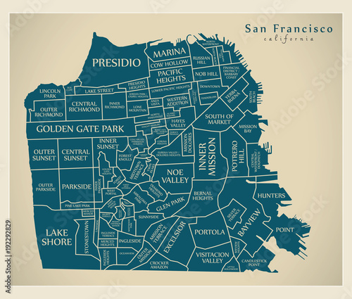 Fotografie, Obraz Modern City Map - San Francisco city of the USA with neighbourhoods and titles