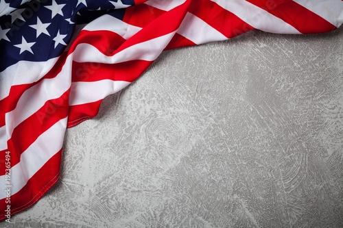 USA flag on grey background