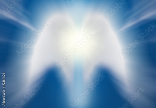 Canvas Print Beautiful abstract shape of an angel drawing with clouds on blue sky