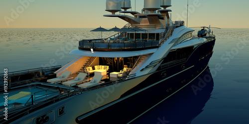 Fototapeta Niezwykle szczegółowa i realistyczna ilustracja 3D wysokiej jakości luksusowego super jachtu z helikopterem, basenem i jacuzzi na wymiar