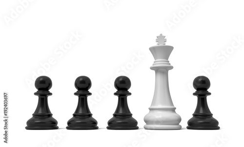 Photo 3d rendering of a row of black pawn pieces with a single white king figure sticking out from among them