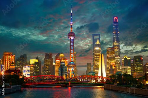 Shanghai skyline at dusk with Garden Bridge, China