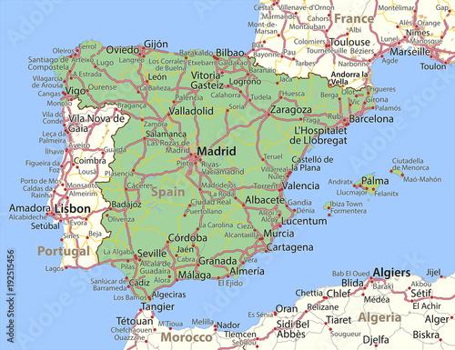 Carta da parati Spain-World-Countries-VectorMap-A