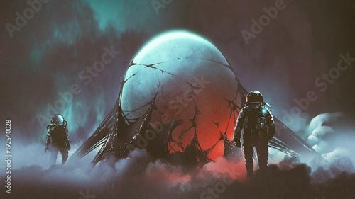 Fotografie, Obraz sci-fi horror scene of two astronauts found the mysterious alien egg, digital ar