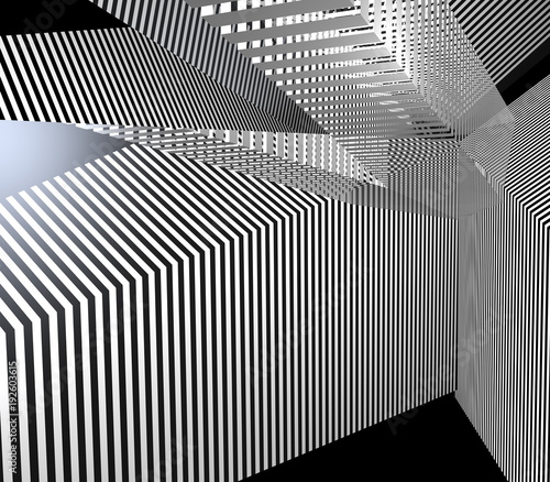 abstract 3d illustration with stripes