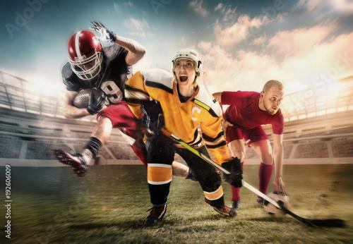 Obraz na płótnie Kolaż o hokeju, piłce nożnej i futbolu amerykańskim na stadionie