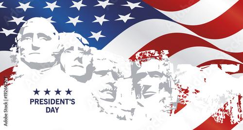 Fotografia Presidents Day Rushmore USA flag landscape background greeting card