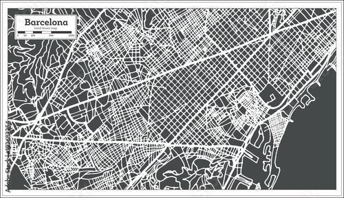 Obraz na plátně Barcelona Spain City Map in Retro Style. Outline Map.