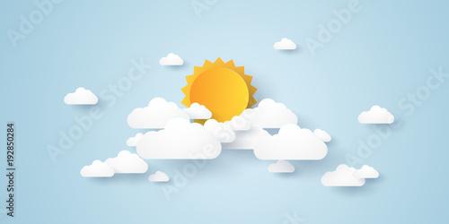 Fototapeta Cloudscape , blue sky with clouds and sun , paper art style