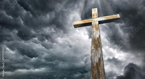 Fotografie, Obraz Cross against the sky. Happy Easter. Christian symbol