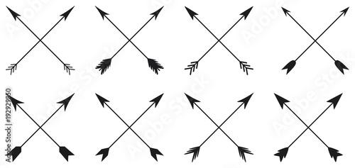 Obraz na płótnie Arrows collection in cross style on white background