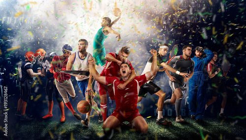 Photo players of different sports on the football stadium 3D rendering