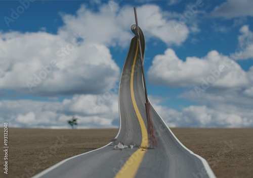 Fototapeta Surralistic road self-cleaning from grabage by broom in desert with blue sky 3d