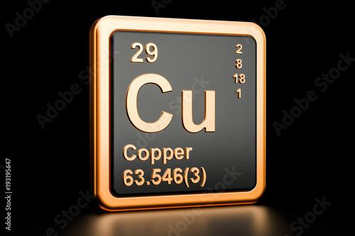 Vászonkép Copper Cu chemical element. 3D rendering