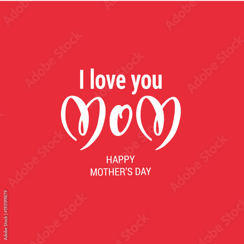 Canvas Print Red Mothers Day holiday card