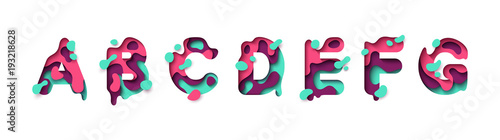 Photo Paper cut letter A, B, C, D, E, F, G