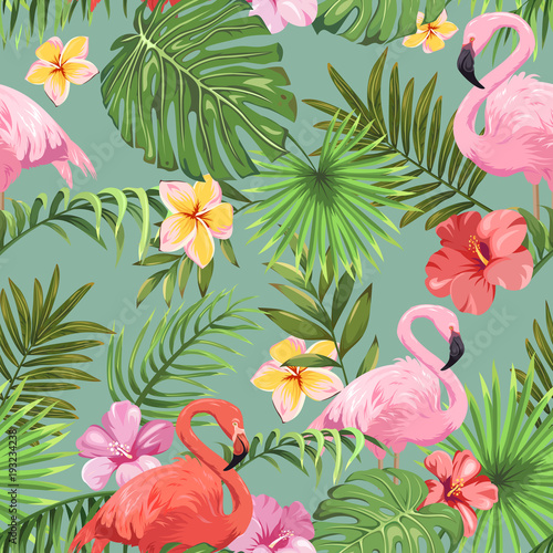 Wallpaper Mural Seamless pattern with tropical plants and colorful flamingos