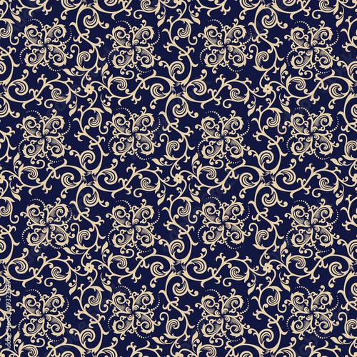 Fototapeta Bezszwowy błękitny tło z beżowym wzorem w bar