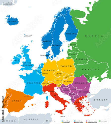 Photo Regions of Europe, political map, with single countries and English labeling