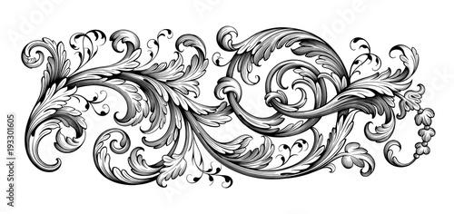 Canvas Print Vintage Baroque Victorian frame border floral engraved scroll ornament leaf retr