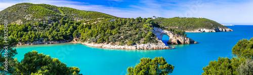 Fototapeta premium Włoskie wakacje w Apulii - naturalny park Gargano z pięknym turkusowym morzem